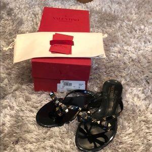 """314ae4448d7 Valentino Shoes - 🌟Valentino """"Rockstud"""" Ono (black) PVC Thong"""